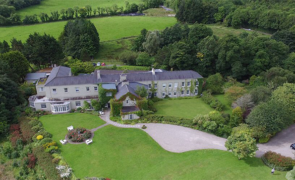 Aerial view of Gregan's Castle Hotel and gardens/