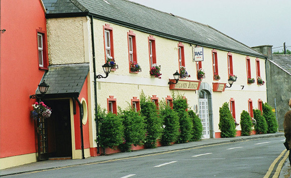 Road passing through Ballyvaughan and the Hylands Burren Hotel /