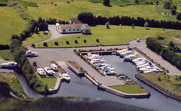 Aerial view of marina on Lough Ree, Ireland/