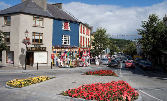 Cars driving along the main street in Westport, Co Mayo/