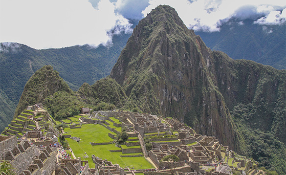 Machu Picchu an Inca site set on a mountain ridge above the sacred valley in Peru/