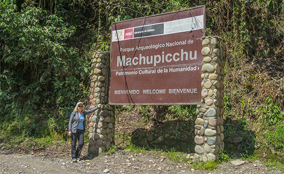 Large brown sign for 'Machupicchu' surrounded by trees. /