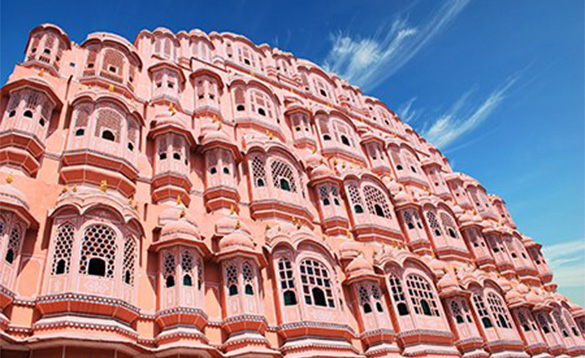 Red and pink sandstone palace, the Hawa Mahal in Jaipur, India/