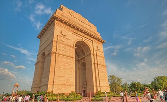 The India Gate War Memorial a stone arched monument in New Delhi/
