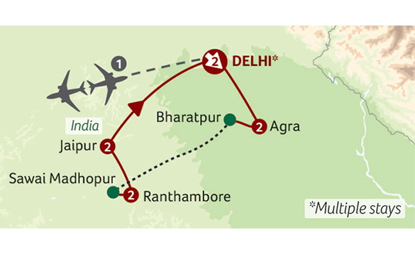 Map showing the route of Indias Golden Triangle tour with Titan holidays./