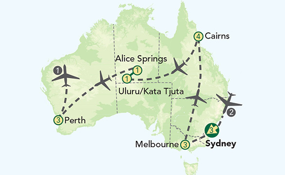 Green map of Australia with grey simply drawn planes showing the areas covered on the tour; Alice Springs, Cairns, Uluru/ Kata Tjuta, Perth, Melbourne, and Sydney./
