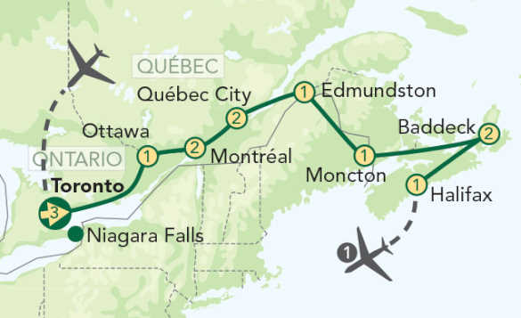 Green drawing of a map of Eastern Canada showing the different locations that the tour covers; Niagara Falls, Moncton, Montreal, Quebec city, Ottawa, Toronto, Baddeck, Edmundston./