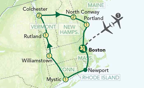 Green drawing of a map of Vermont, New Hampshire, Massachusetts, Maine, Connecticut and Rhode Island, showing the locations that the tour covers; North Conway, Portland, Boston, Newport, Mystic, Williamstown, Rutland and Colchester. /