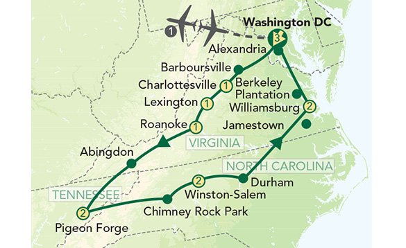 Drawing of a green map of Virginia, North Carolina and Tennessee showing the areas covered on the tour. /