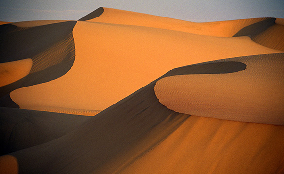 Sand dunes in Namibia./