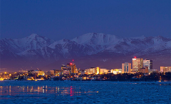 Anchorage waterfront at night/