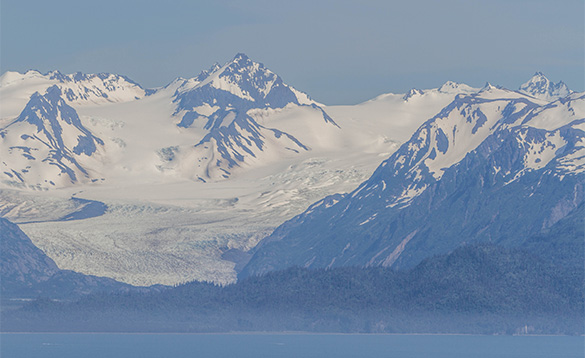 Snow covered mountains and glaciers in Alaska/