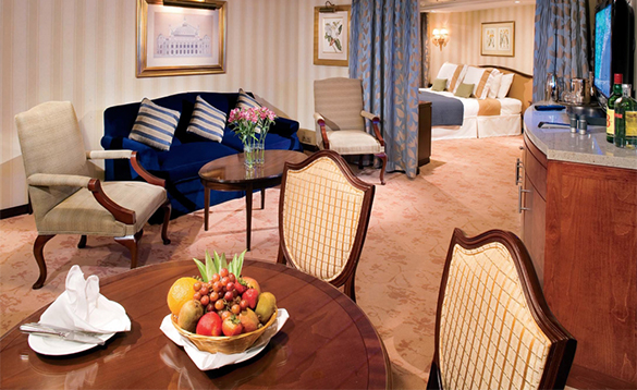 The Royal suite on an Azamara Cruise ship/