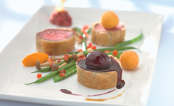 Plate of food served in the Munrano Restaurant onboard a Celebrity cruises ship/