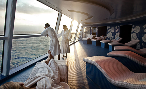 Passengers relaxing in the spa onboard a Celebrity cruise ship/