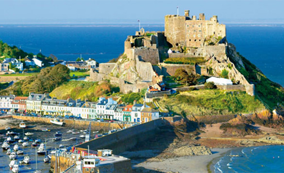 Gorey Castle and harbour/