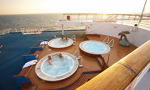 Couple relaxing in the whirlpools on the Cruise and Maritime ship Marco Polo/