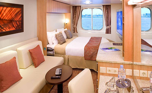 Cabin on a cruise ship with window/