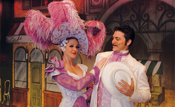Two actors onstage aboard a Crystal Cruises cruise ship/