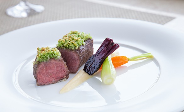 Lamb dish served in the restaurant aboard a Crystal Cruises ship/