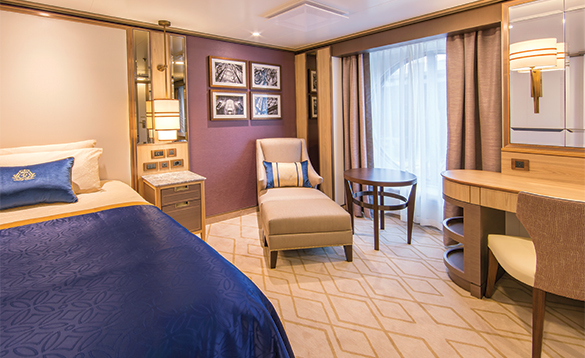 Single Oceanview cabin onboard a Cunard cruise ship/