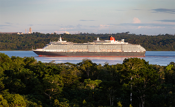 Cunard's Queen Victoria crusing along The Amazon/