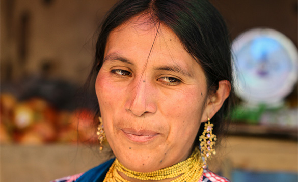 close up of the face of an Ecuadorian lady/