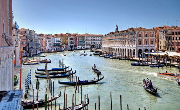 Gondolas on the Grand Canal in Venice/