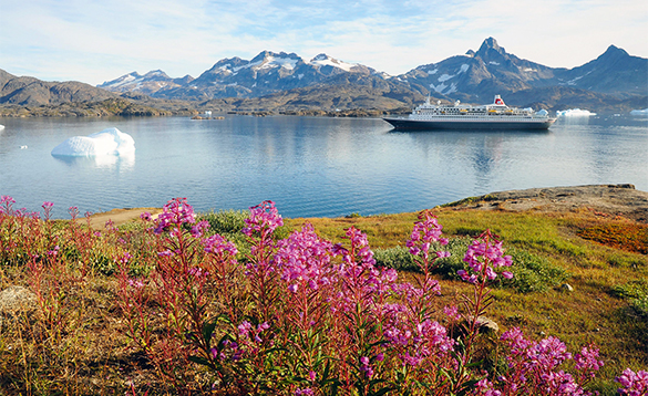 Fred Olsen cruise ship Boudicca sailing past snow capped mountains in Tasiilaq, Greenland/