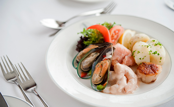Plate of seafood served on the Fred Olsen Cruises/