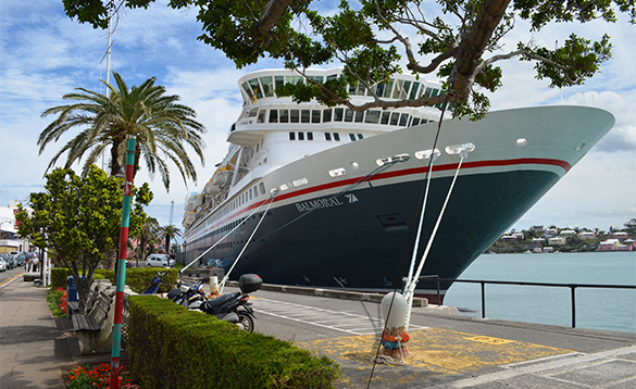 Fred Olsen cruise ship Balmoral moored in Hamilton, Bermuda/