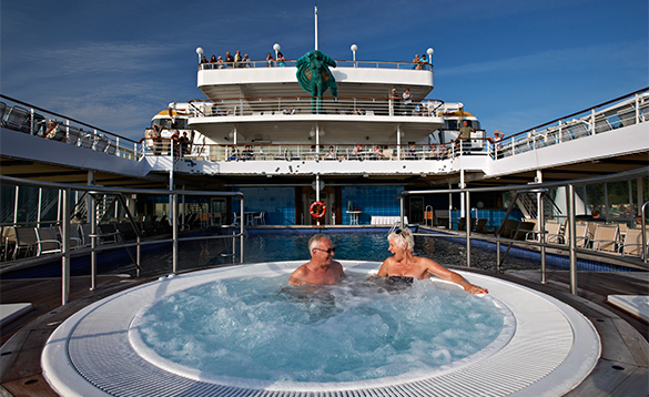 Couple in the jacuzzi on Fred Olsen Cruise ship Black Watch/