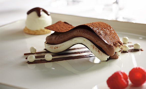 Chocolate dessert served on the Holland America cruise ships/