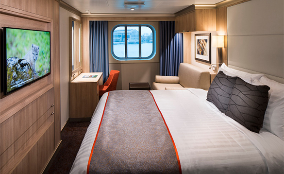 Ocean view stateroom onboard a Holland America cruise ship/