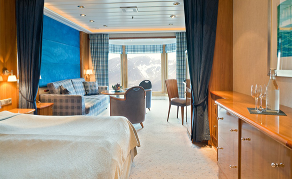 Suite accommodation onboard the MS Trollfjord, Hurtigruten cruise ship/