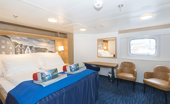 Suite accommodation onboard a Hurtigruten cruise ship/