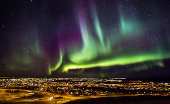 Northern lights over Akureyri in Iceland/