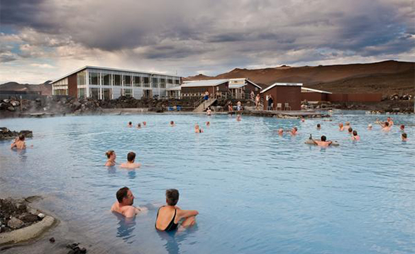 People enjoying th Myvatn Nature baths in Iceland/