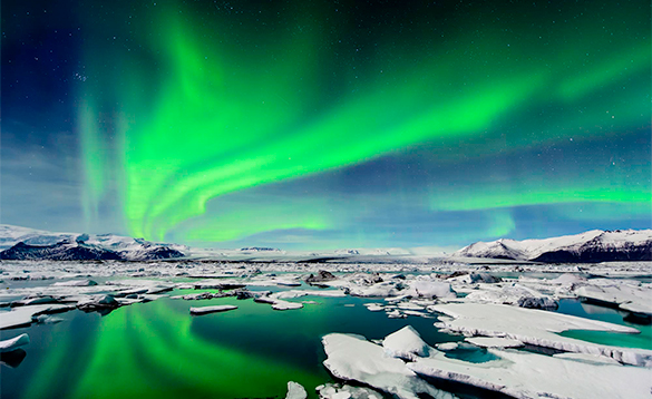 Aurora Borealis over ice flows in Iceland/