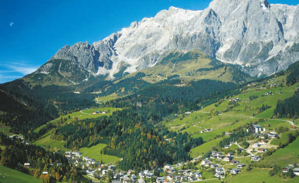 View of houses at the foot of Hochkoenig Mountain in the Berchtesgaden Alps, Salzburgerland, Austria/