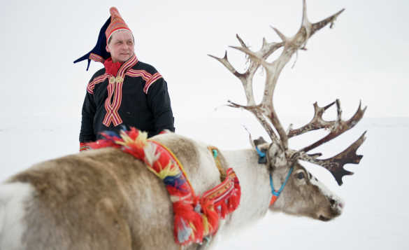 Sami man standing with a reindeer in Finnmark/
