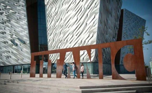 Red Metal Titanic sign outside the Titanic Belfast museum/