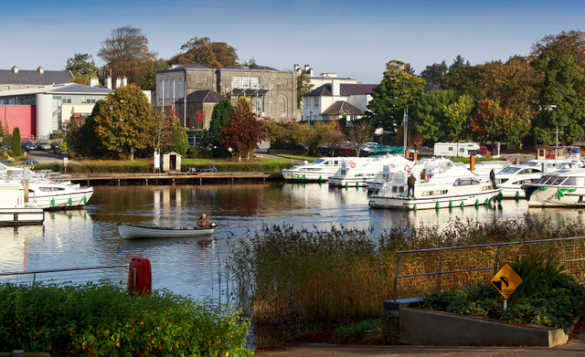 Boats moored in the marina at Carrick-on-Shannon/