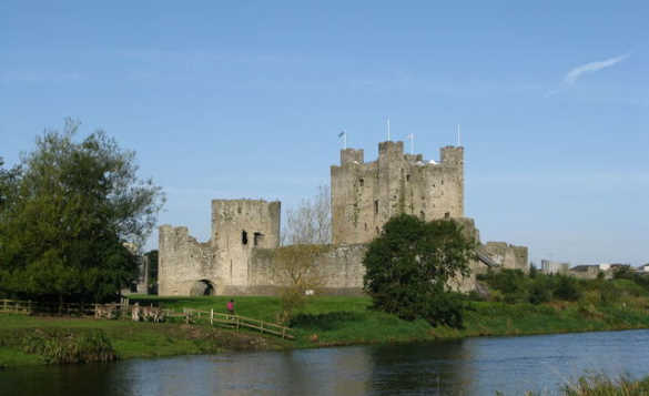 River flowing past Trim Castle in Ireland/
