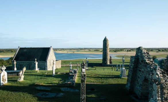 View across the Clonmacnoise Monastic Site in Shannonbridge/