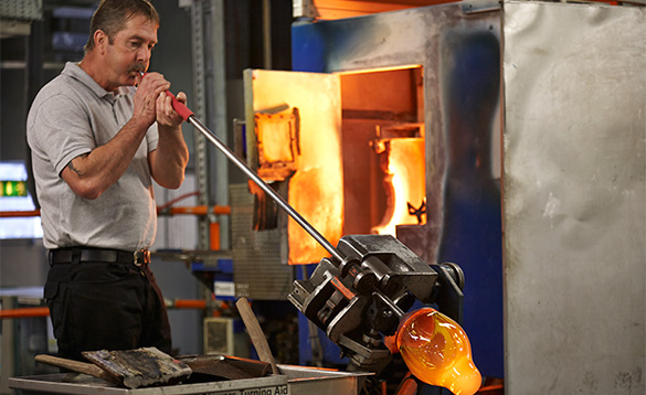 Man blowing glass at Waterford Crystal/