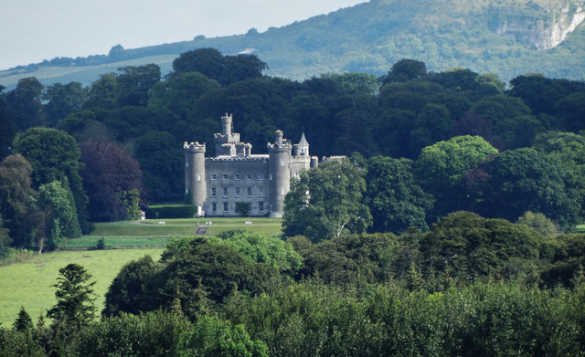 View of Tullynally Castle set amongst trees/