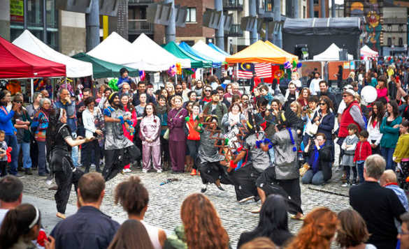Crowds watching people dancing at the Smithfield Festival in Dublin/