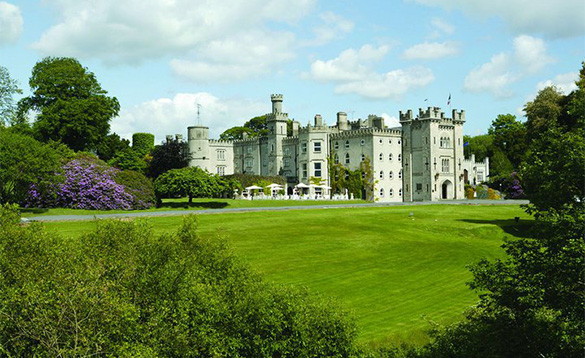 View across lawns towards the impressive Cabra Castle Hotel in Cavan/