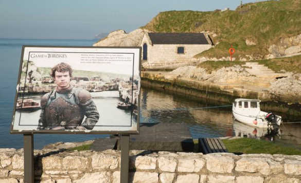 Game of Thrones information board at Ballintoy Bay/